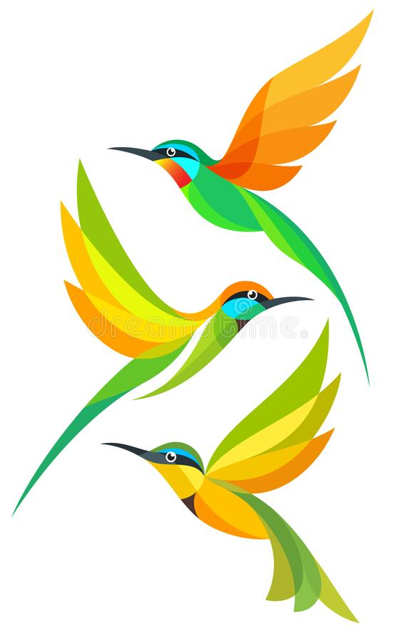 Stylized Birds in flight. Stylized Colorful Birds in flight - Bee-eaters royalty free illustration
