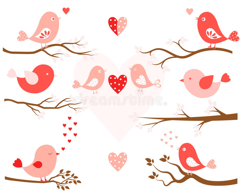 Stylized birds and tree branches. Stylized birds in pink and tree branches in brown in flat style for Valentine`s day and wedding designs royalty free illustration