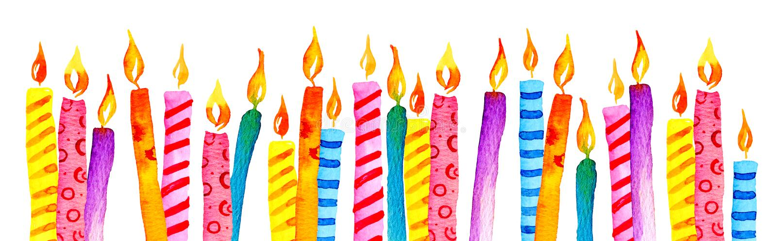 Stylized birthday candles in a row. Hand drawn cartoon watercolor sketch illustration vector illustration