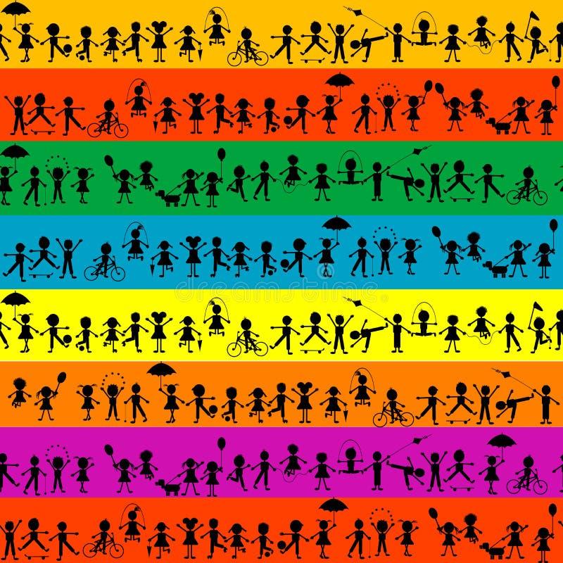 Stylized black kids seamless background vector illustration