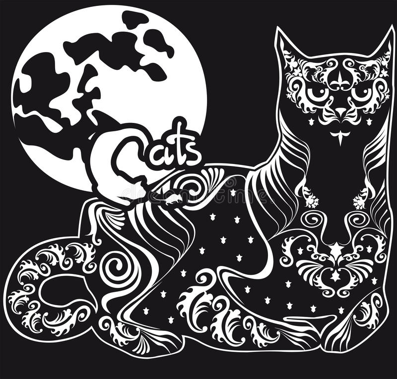Stylized Black And White Patterned Cat Stock Vector Illustration