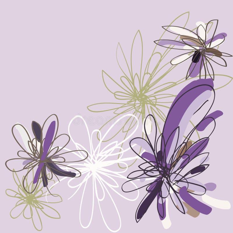 stylized blom- blommor för bakgrund violeten vektor illustrationer