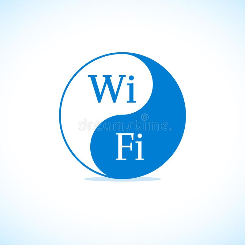 Stylized blue wifi sticker illustration vector illustration