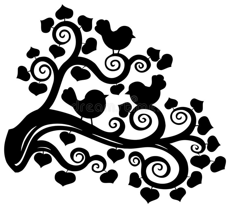 Stylized branch silhouette with birds vector illustration