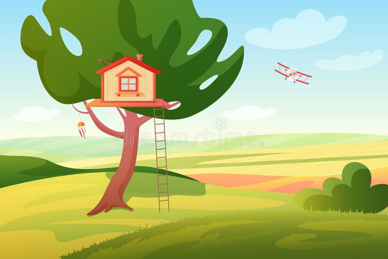 Stylized bright summer rural fields sunny panoramic landscape with a wooden children tree house and ladder, plane royalty free illustration