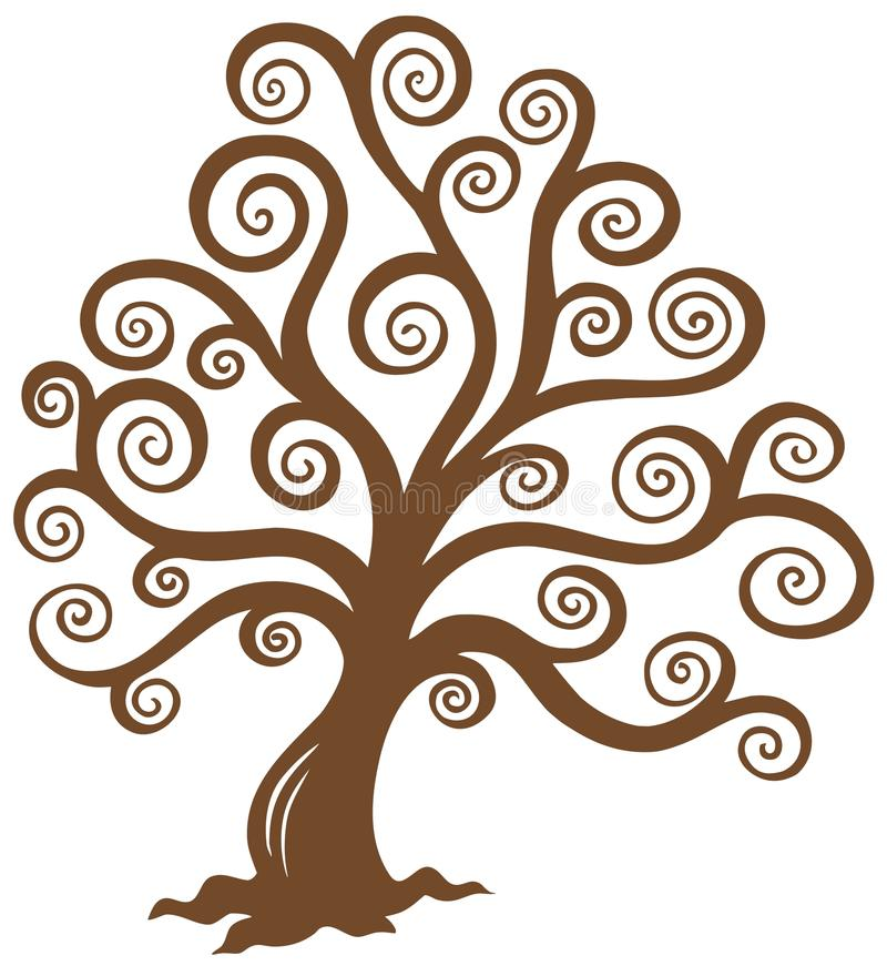 Stylized Brown Tree Silhouette Stock Images