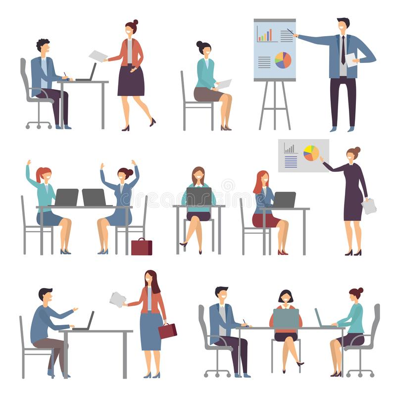 Stylized business characters. Different dialogs of office people. Presentation business chart, colleague work and talk. Vector illustration vector illustration