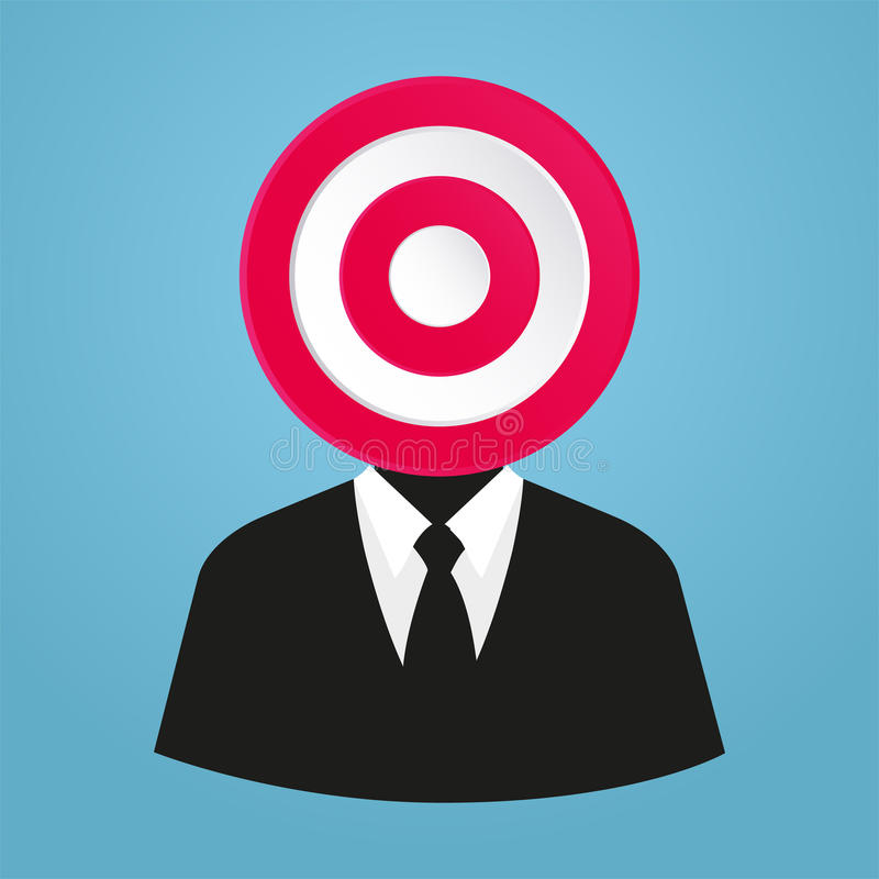 Stylized businessman target market, A specific group of consumers at which a company aims its products and service. Businessman target market, A specific group royalty free illustration