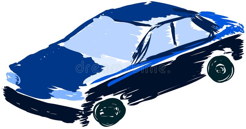 Stylized car in blue and black isolated. A sketch of a modern car that can be used as logo or part of a flyer royalty free illustration