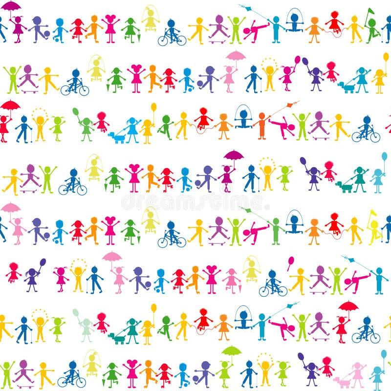 Stylized cartoon kids seamless background vector illustration