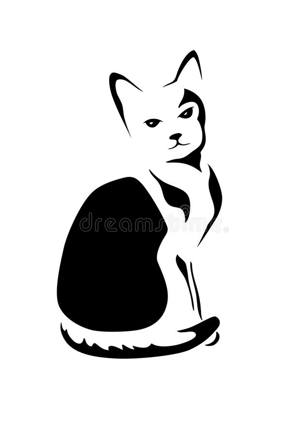 Download Stylized cat stock vector. Illustration of kitty, silhouette - 26329576