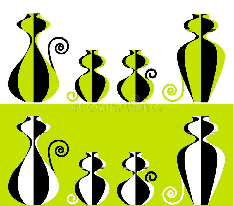Stylized cat family two sets stock image