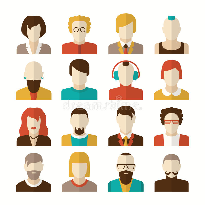 Stylized character people avatars. In flat style for social networks stock illustration
