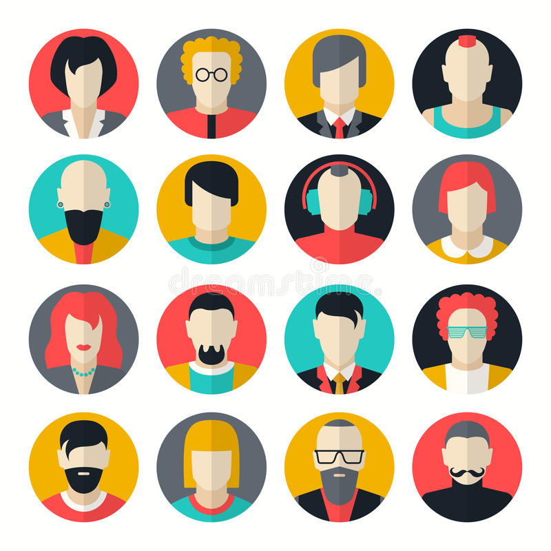 Stylized character people avatars. In flat style for social networks royalty free illustration