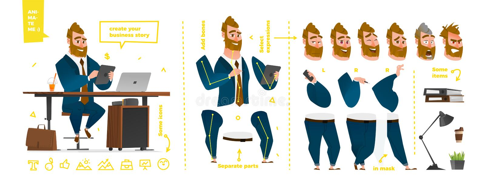 Stylized characters set for animation. stock illustration