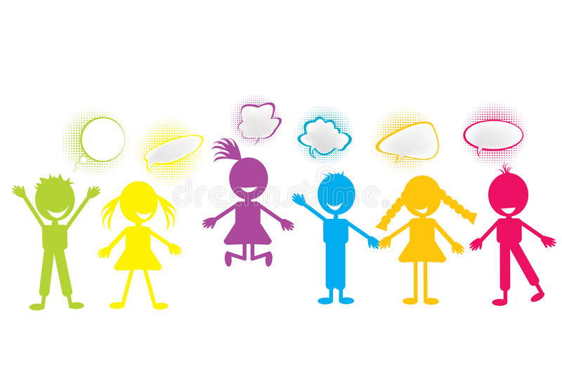 Download Stylized Children With Chat Bubbles Royalty Free Stock Image - Image: 17630486
