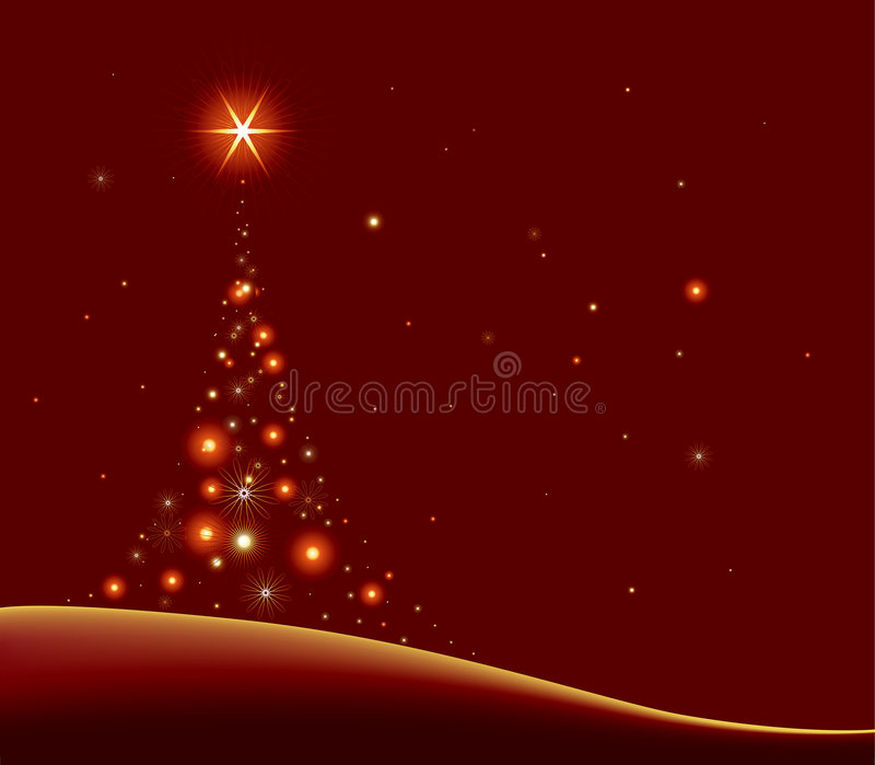 Stylized christmas tree. Fantasy cristmas tree with stars on the sky royalty free illustration