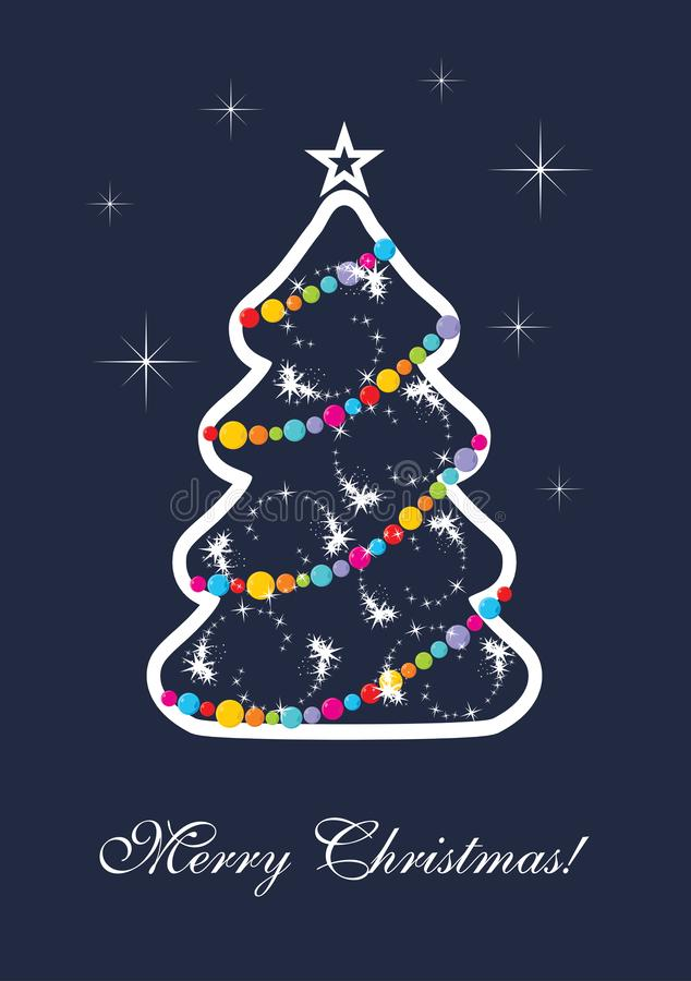 Stylized Christmas tree on a dark blue background royalty free stock images