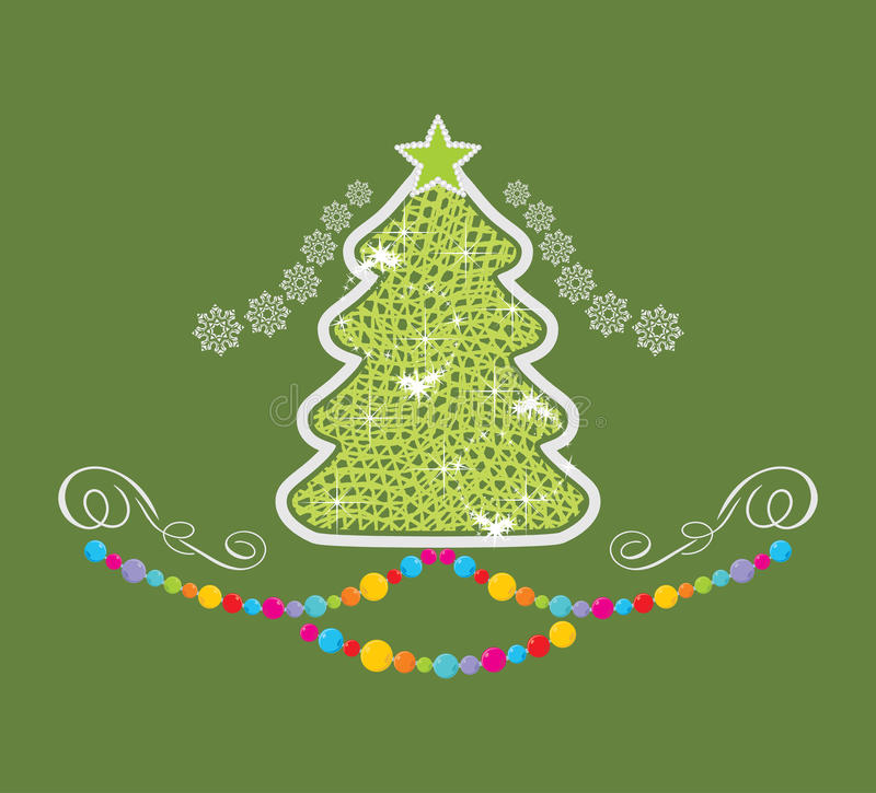 Stylized Christmas tree on the green background stock photos