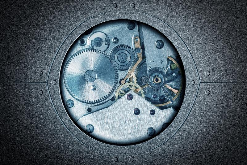 Stylized collage of a mechanical device Abstract background stock photography