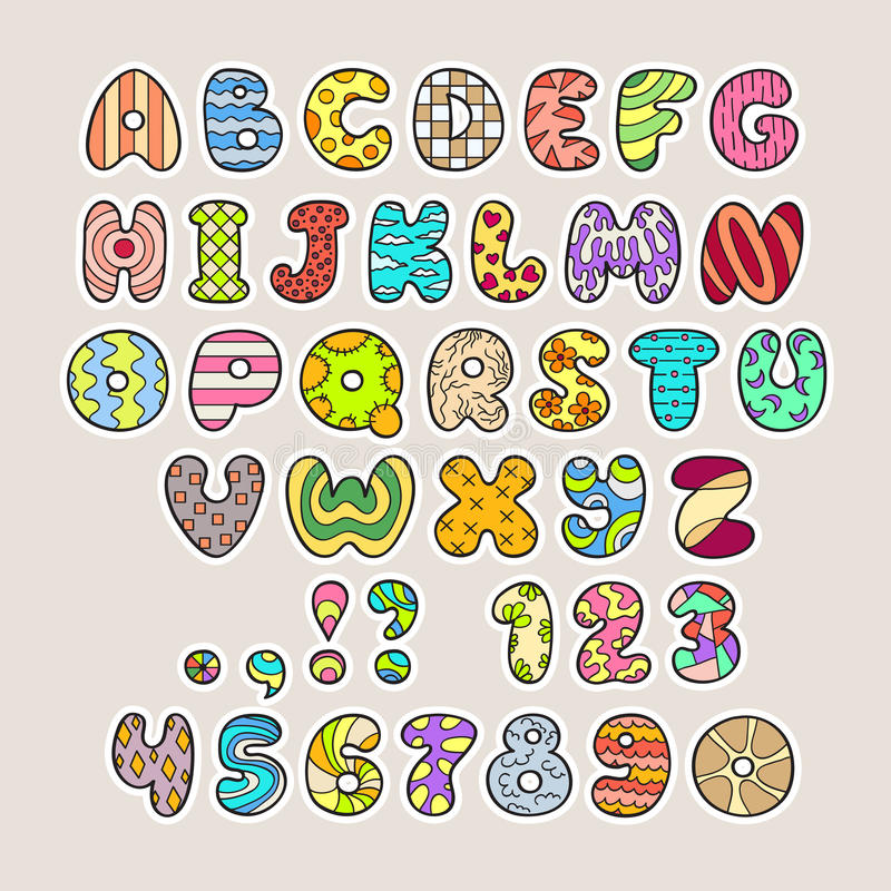 Download Stylized Colorful Alphabet And Numbers In Vector Stock