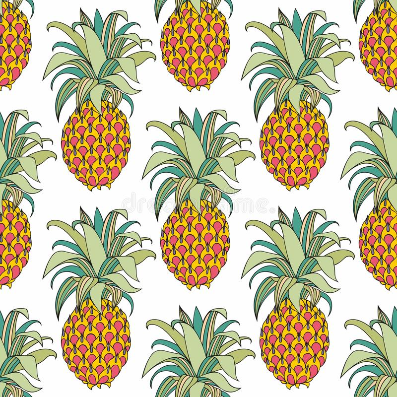 Download Stylized Colorful Pineapple Vector Seamless Pattern Stock