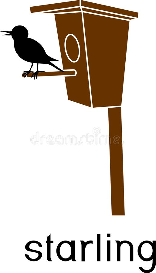 Stylized common starling at birdhouse with title royalty free illustration