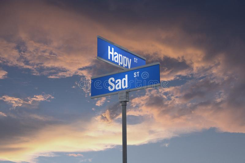 3D Illustration of a street sign_happy and sad streets. A stylized 3D illustration of yellow street sign reading HAPPY AND SAD streets set against a blue / stock illustration