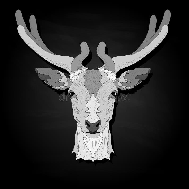 Stylized deer head vector monochrome  illustration isolated on black background. Stylized deer head vector monochrome illustration isolated on black background vector illustration