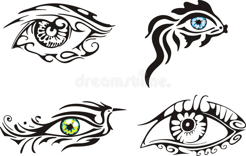 Stylized dekorativa ögon stock illustrationer