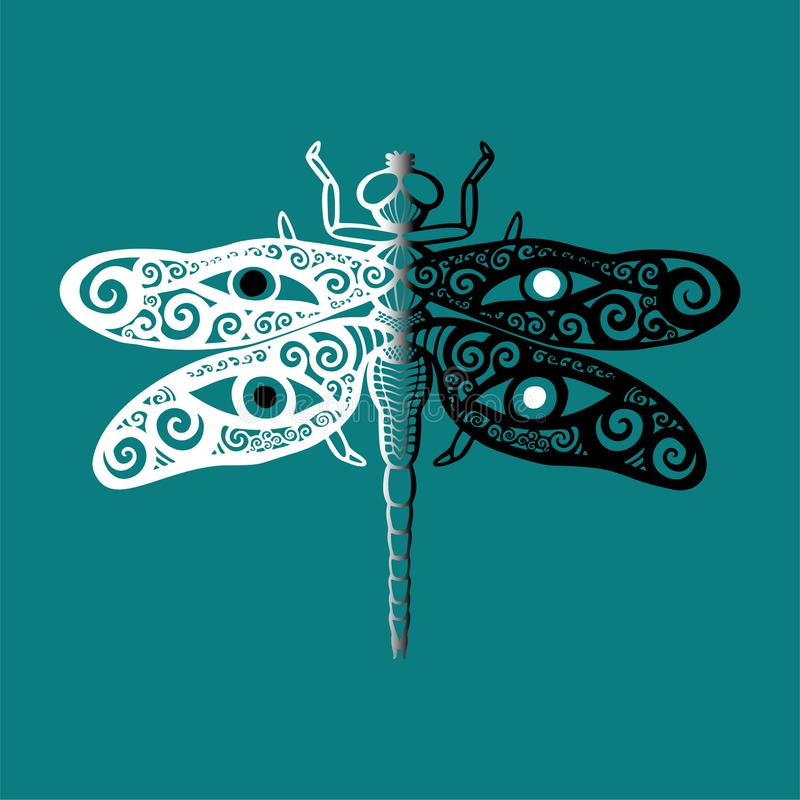 Stylized dragonfly in black and white with swirly wings design and human eyes on its wings on blue background Totem animal spirit. Stylized dragonfly vector in royalty free illustration