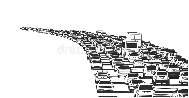 Illustration of rush hour traffic jam on freeway. Stylized drawing of american freeway in rush hour traffic in black and white vector illustration