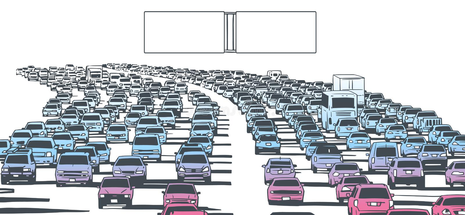 Illustration of rush hour traffic jam on freeway. Stylized drawing of american freeway in rush hour traffic in color with blank signs royalty free illustration