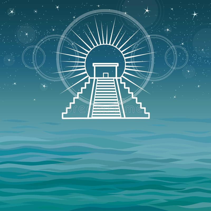 Stylized drawing of the Mexican pyramid. stock illustration