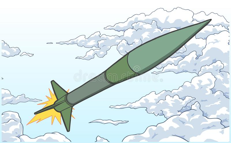 Illustration of ballistic missile ascending among clouds in color. Stylized drawing of north korean missile royalty free illustration