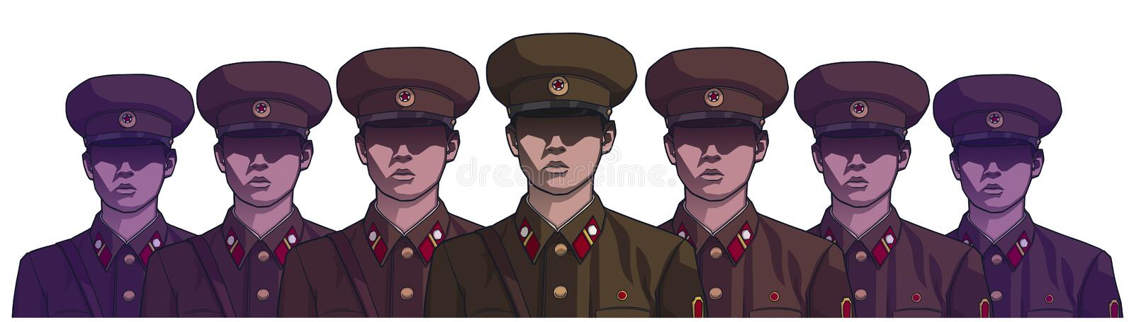 Illustration of north korean soldiers wearing uniform in color royalty free illustration