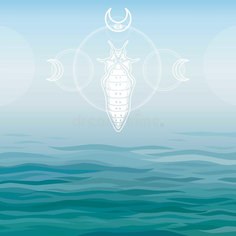 Stylized drawing of a sea larva. vector illustration