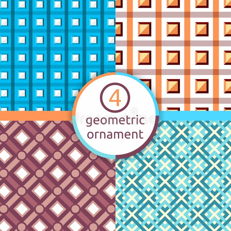 A stylized drawing. Set of geometric patterns. Square. Triangle. A selection of patterns. Vector pattern of geometric shapes. Geom. Set of geometric patterns stock illustration