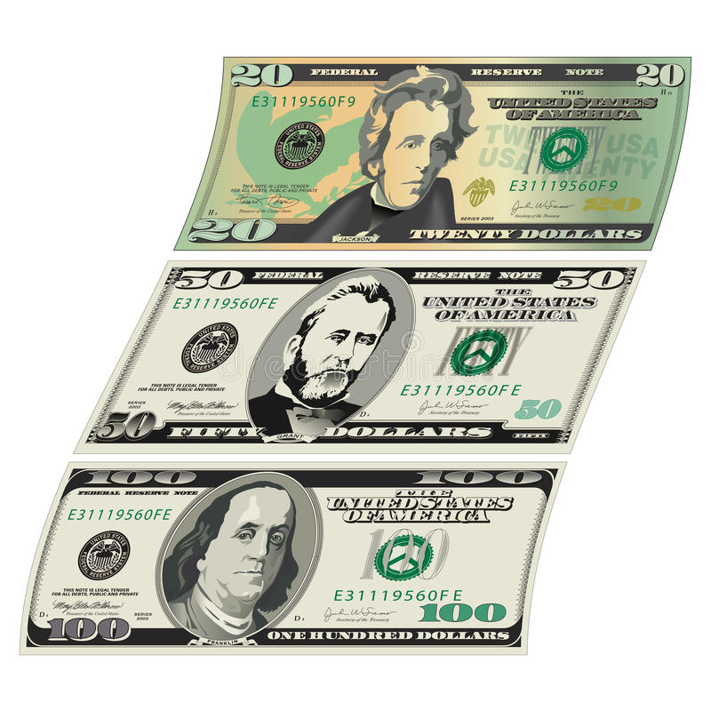Stylized drawings of Bills for stock illustration