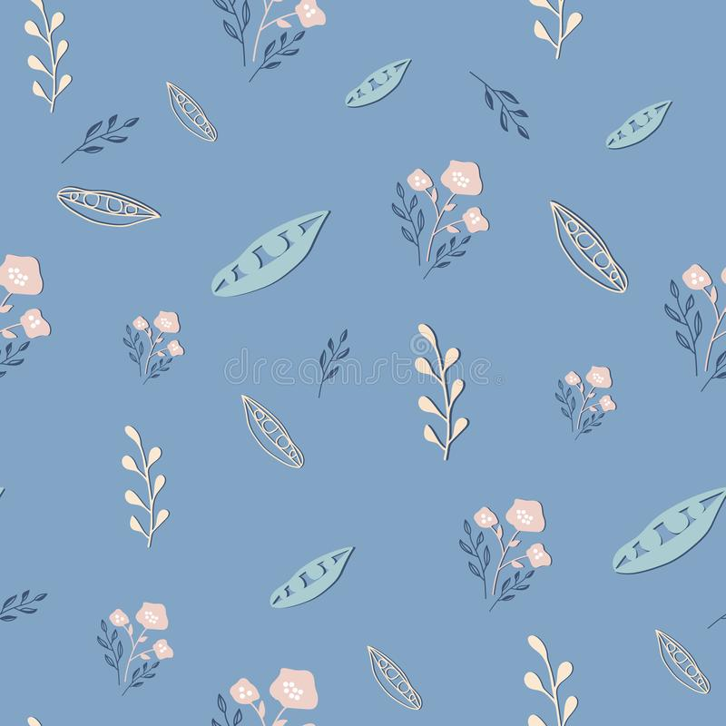 Stylized dusty pink flowers on blue grey background seamless repeat vector. royalty free illustration