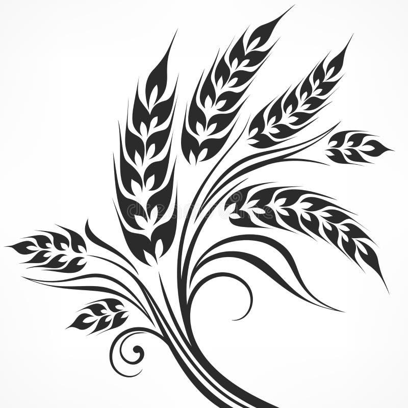 stylized ears of wheat in black stock vector