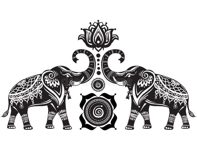 Stylized elephants and lotus flower. Stylized decorated elephants and lotus flower stock illustration