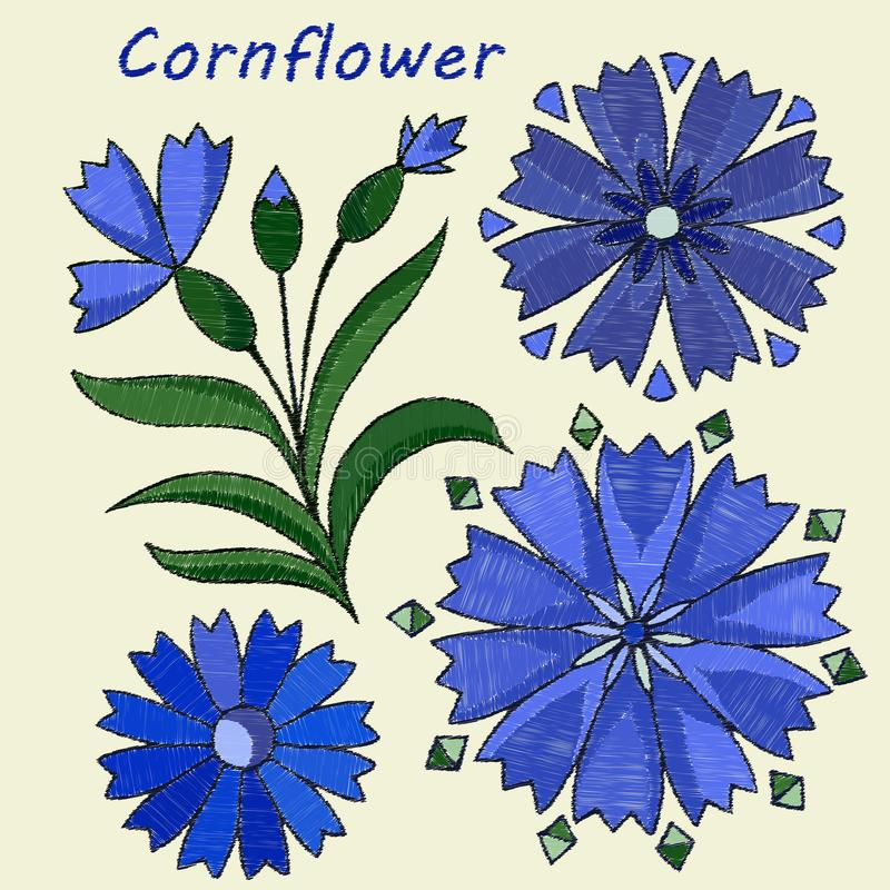 Stylized, embroidered elements, cornflower flower. Vector stock illustration
