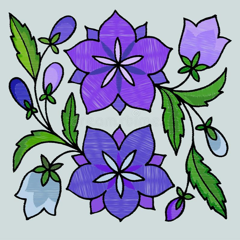 Stylized embroidery of bells royalty free illustration