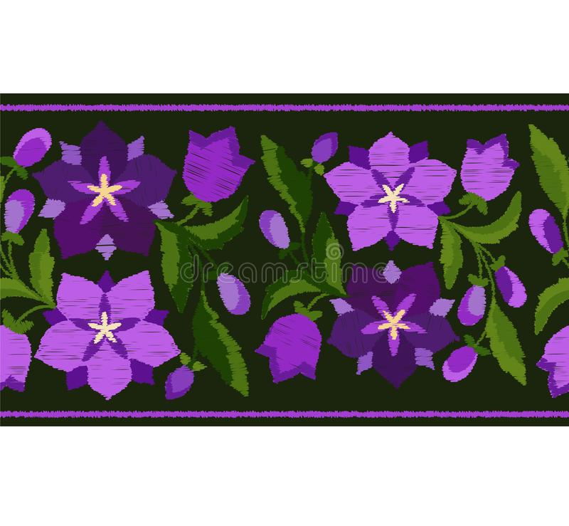 Stylized embroidery a border pattern of bluebells stock illustration