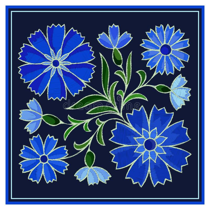 Stylized embroidery cornflower pattern on dark background vector illustration