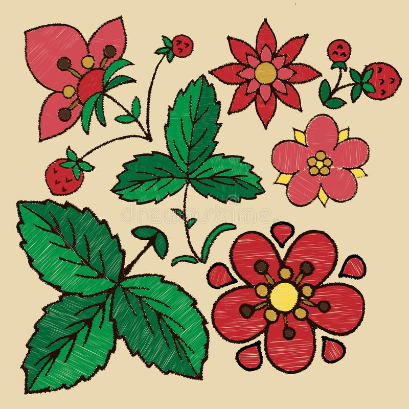 Stylized embroidery of flowers, berries and strawberry leaves vector illustration