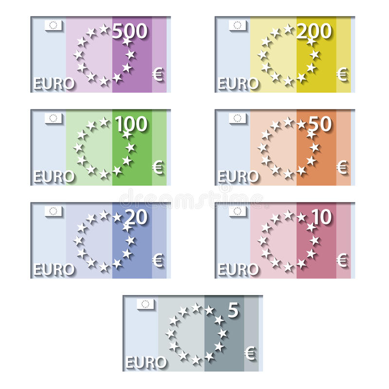 Stylized euro paper bill banknotes