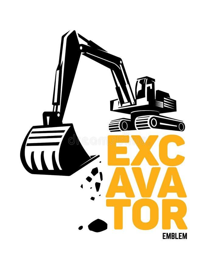 Stylized excavator. Vector. Illustration emblem stock illustration