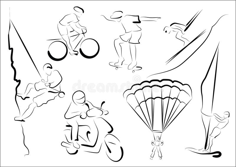 stylized extrema sportsmen royaltyfri illustrationer